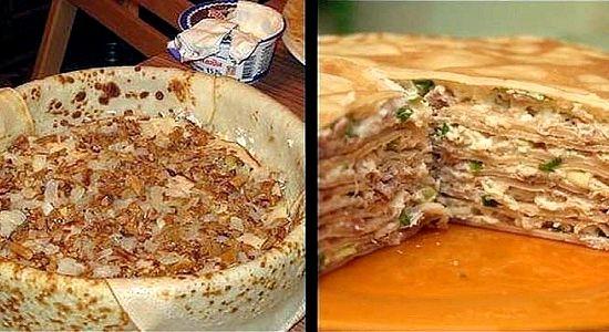 Блинный пирог с курицей и грибами рецепт с фото