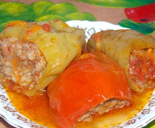 Фаршированный перец с мясом в духовке рецепт с пошагово