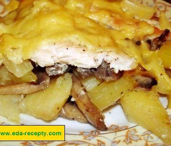 Курица с грибами и картошкой с сыром в духовке рецепт с пошагово
