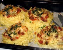 Гнезда из макарон с фаршем на сковороде рецепт пошагово с фото