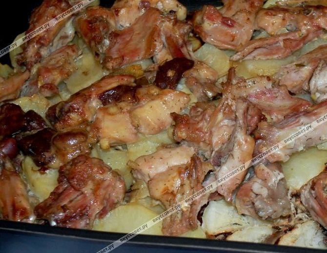 Кролик в духовке с картошкой рецепт с фото