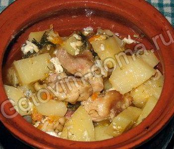 Курица в горшочке с картошкой в духовке рецепт с фото