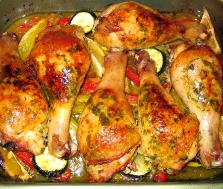 Куриные ножки с овощами в духовке рецепт с пошагово