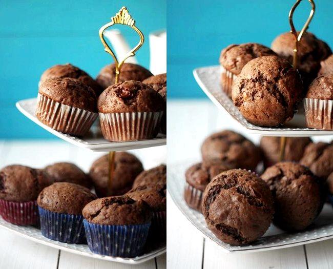 Маффины шоколадные с кусочками шоколада рецепт с фото пошагово