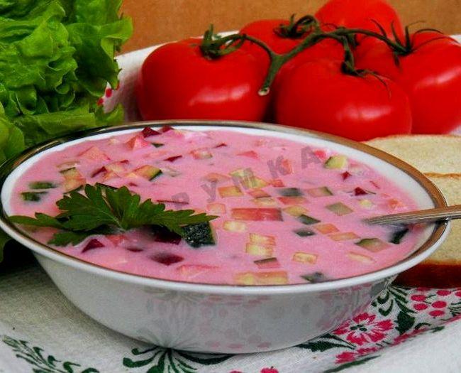 Холодный борщ из маринованной свеклы рецепт пошаговый с