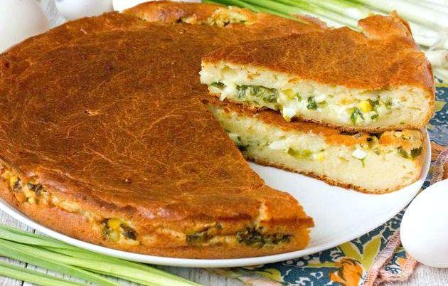 Пирог с луком и яйцом заливной рецепт