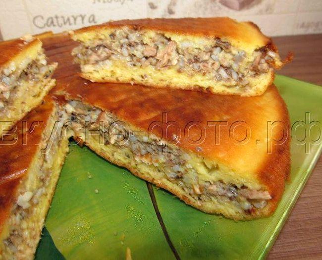 Пирог с сайрой и рисом заливной рецепт с