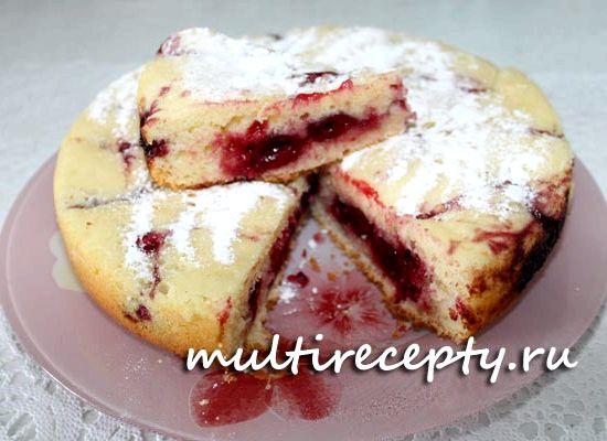 Простой пирог с вишней в мультиварке рецепт с фото