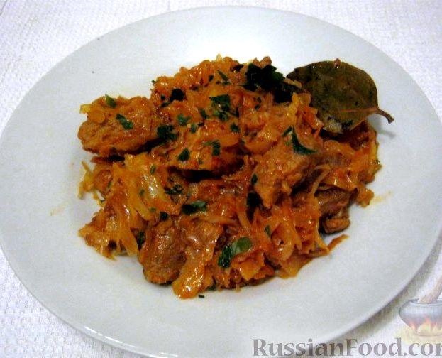 Рецепт тушеной капусты с мясом рецепт пошаговый