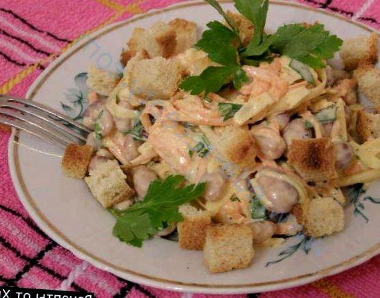 рецепты салатов с консервированной фасолью и грибами