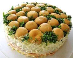 Салат грибная поляна с корейской морковью рецепт с фото