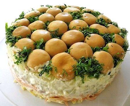пошаговый рецепт салата грибы на поляне