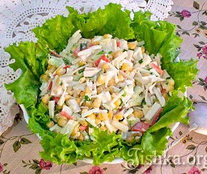 Салат из крабовых палочек рецепт с кукурузой и огурцом