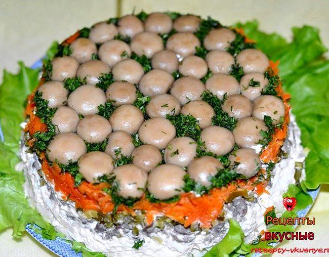 Салат лесная полянка рецепт с фото с шампиньонами