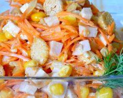 Салат с кукурузой и сухариками рецепт с фото