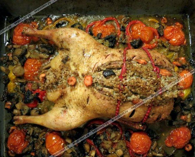 утка в духовке с гречкой пошаговый рецепт с фото