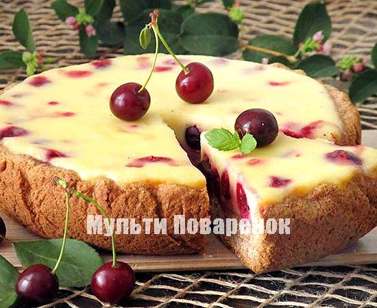 пирог из вишни в мультиварке рецепт фото