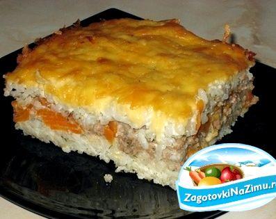 Запеканка рисовая с фаршем в духовке рецепт с фото