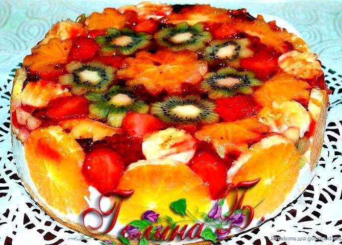 Бисквитный торт с желе и фруктами рецепт с фото