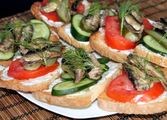 Бутерброды со шпротами рецепт с фото со свежим огурцом