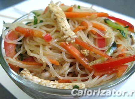 Фунчоза с овощами и мясом рецепт с фото