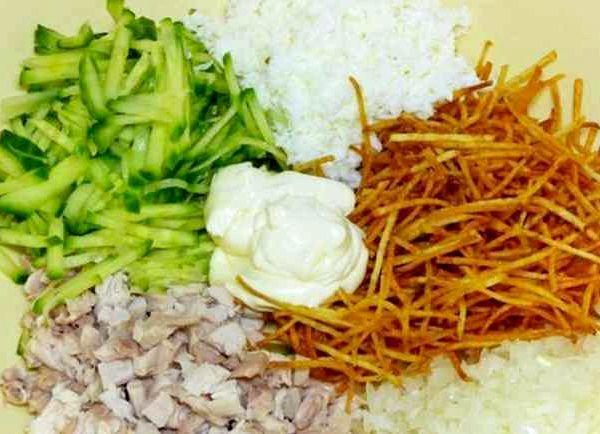 Гнездо глухаря классический рецепт салат