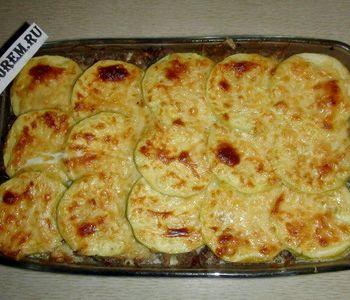 Кабачки в духовке с помидорами и сыром и фаршем фото рецепт