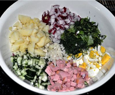 Как приготовить окрошку на кефире рецепт