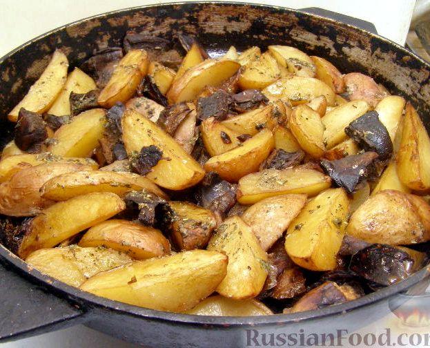 Картофель в духовке рецепт с фото с грибами