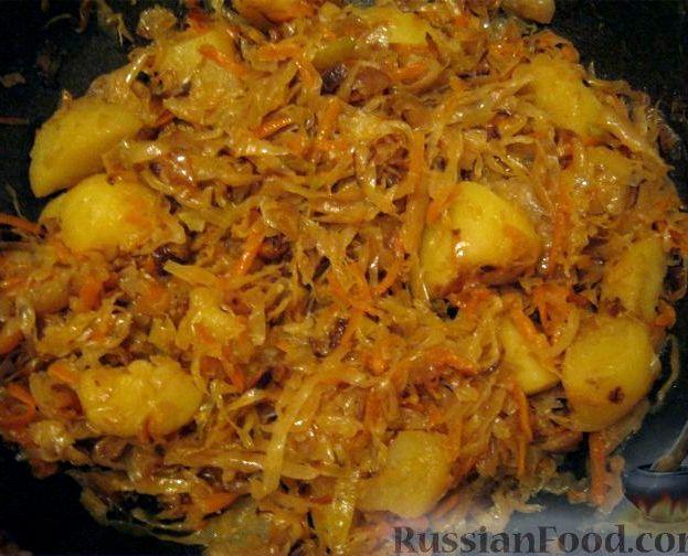 Картошка тушёная с капустой рецепт с фото