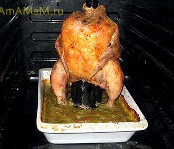 Курица целиком в духовке на банке рецепт с фото