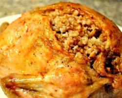 Курица фаршированная с гречкой в духовке рецепт с фото