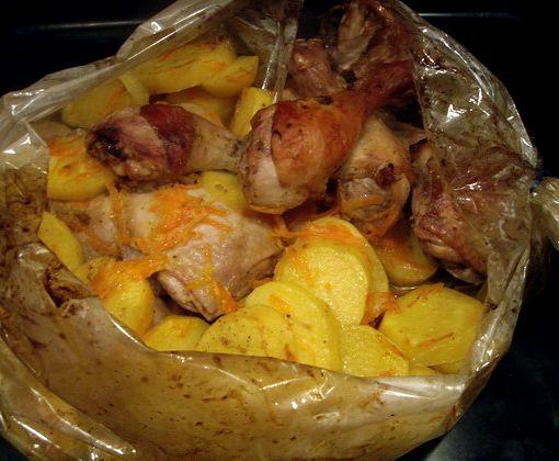 Куриные ножки в духовке в рукаве с картошкой рецепт с фото