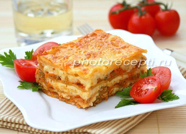 Лазанья болоньезе с соусом бешамель рецепт с фото