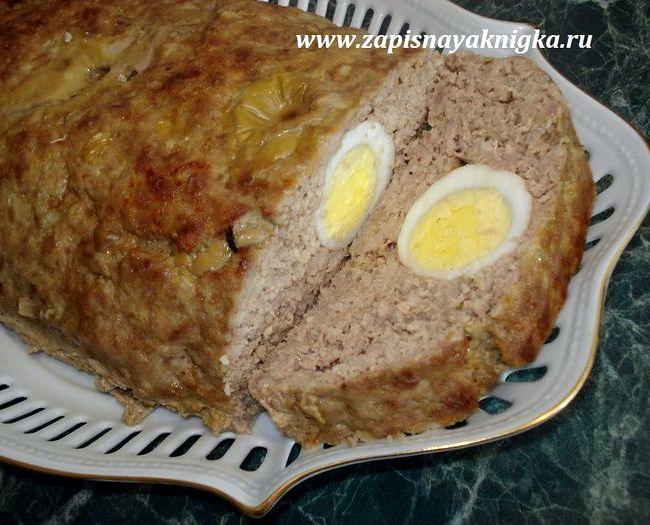 Мясной рулет с яйцом в духовке рецепт с фото пошагово