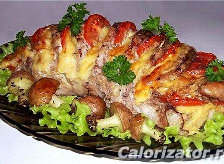 Мясо в духовке с сыром и помидорами рецепт с фото