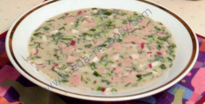 Окрошка рецепт классическая с колбасой на кефире с минералкой рецепт