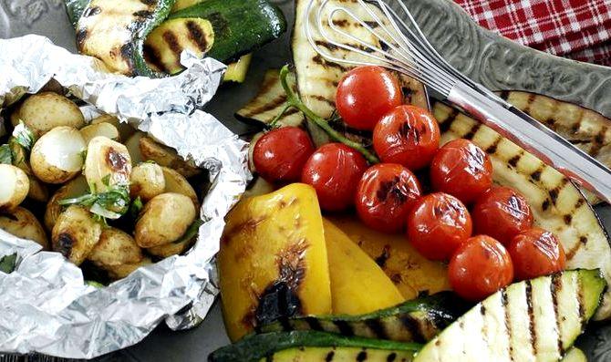 Овощной шашлык на мангале рецепт с фото