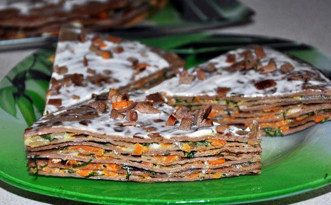 Печеночный торт из куриной печени пошаговый рецепт с фото