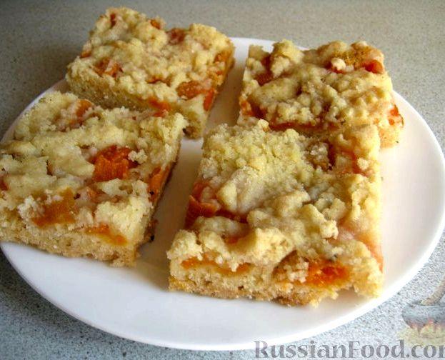 Песочный пирог с абрикосами рецепт с фото
