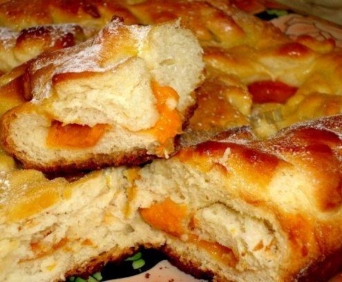 Пирог дрожжевой с абрикосами рецепт с фото