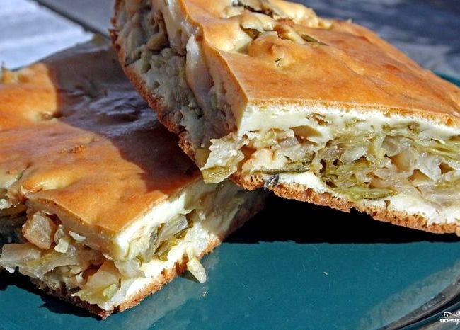 Пирог из капусты в духовке рецепт с фото
