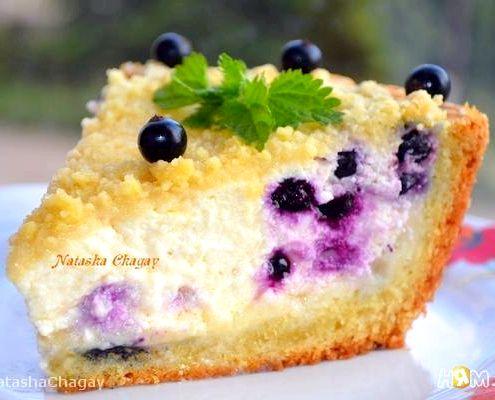 Пирог с черникой с творогом рецепт с фото