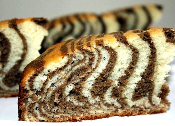 Пирог зебра пошаговый рецепт на кефире с фото