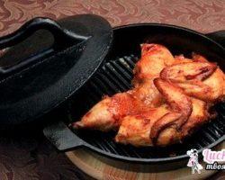 Рецепт цыпленка табака на сковороде под прессом
