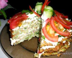 Рецепт кабачкового торта с помидорами