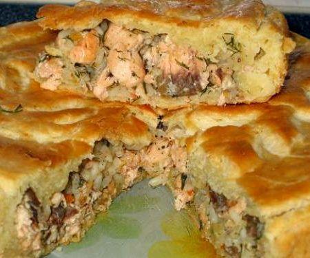Рецепт пирог с сайрой и рисом рецепт