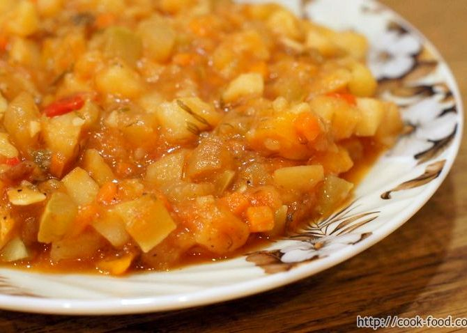 Рецепт рагу из овощей с кабачками и картошкой