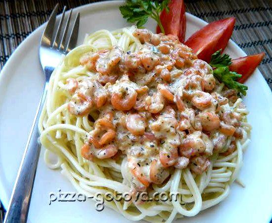 Рецепт с фото спагетти с креветками в сливочном соусе