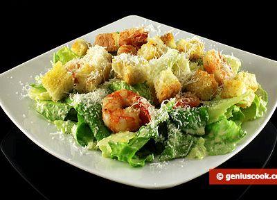 Рецепт салат цезарь с креветками с фото
